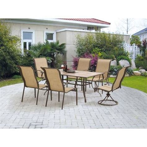 mainstays york 7 patio garden furniture dining set