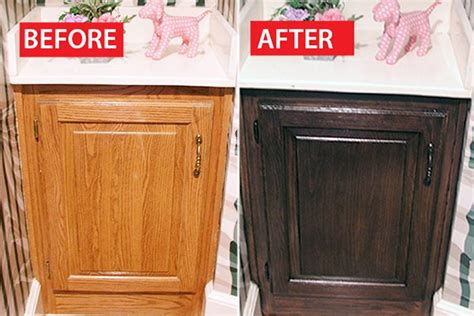 before after a honey oak cabinet refinished ehow