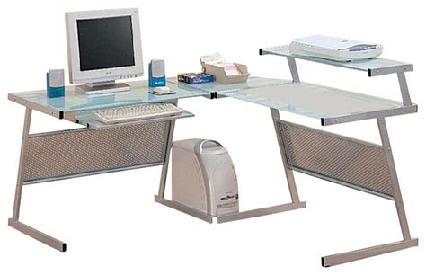 coaster wrightwood l shape computer desk in silver