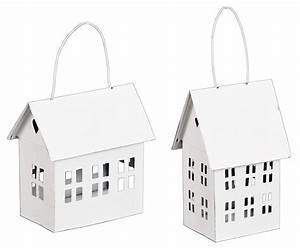 Windlicht Weiß Metall : metall windlicht haus zum h ngen in wei teelichthalter 2er set ~ Markanthonyermac.com Haus und Dekorationen