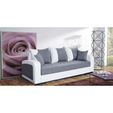 canap 233 convertible 3 places fiona gris achat vente canap 233 sofa divan tissu simili