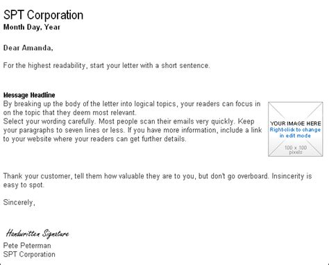 Business Letter Template Email