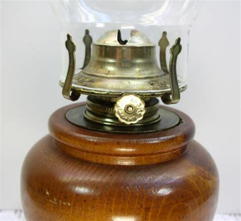 turned wood wooden base kerosene l glass chimney l light farms burner ebay