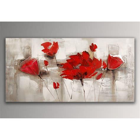 coquelicots rouges tableau floral modern peint 224 la sur toile avec chassis fr