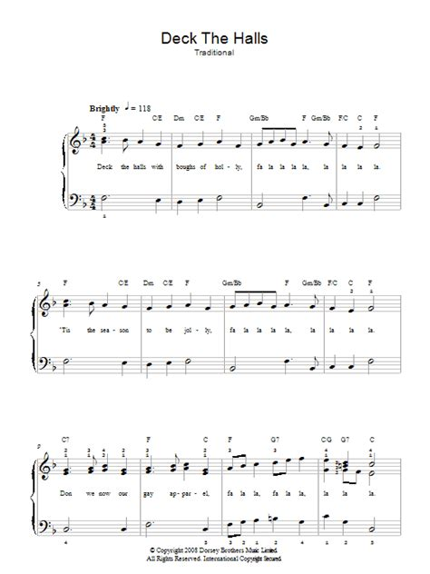 Deck The Halls Easy Piano by Deck The Halls Sheet Music Direct