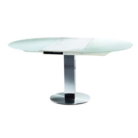 table ronde de salle 224 manger 224 rallonge en verre blanc vera achat vente table a manger