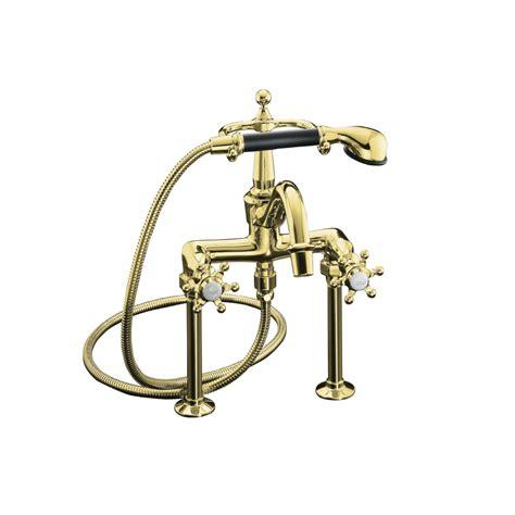 shop kohler antique vibrant polished brass 2 handle deck mount bathtub faucet at lowes