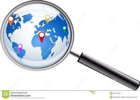 carte du monde avec la loupe illustration de vecteur image 50444424
