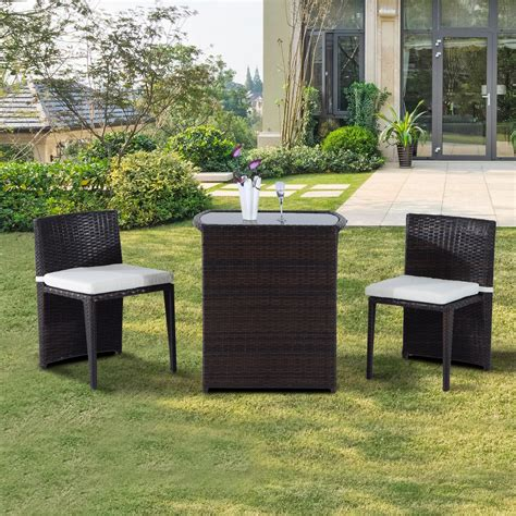 Outsunny Patio Furniture by Outsunny 3pcs Outdoor Wicker Rattan Bistro Set Patio Chair