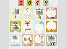 YEARLY Cute Printable Calendar 2019 Template August 2019
