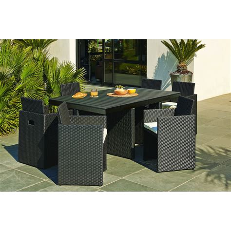 salon de jardin encastrable r 233 sine tress 233 e noir 1 table 6 fauteuils leroy merlin