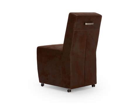 chaise simili cuir marron