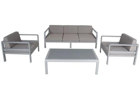 salon de jardin alu canap 233 3 p 2 fauteuils avec coussins et table plateau verre anco la