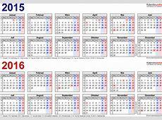 Zweijahreskalender 2015 & 2016 als PDFVorlagen zum Ausdrucken