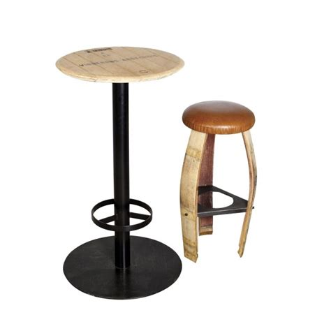 eco design table in lacquered steel and solid oak from wine barrels mange debout by adjao maison