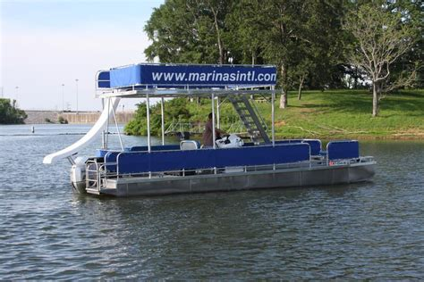 Pontoon Party Boat With Slide by Double Decker Pontoon Boat With Slide