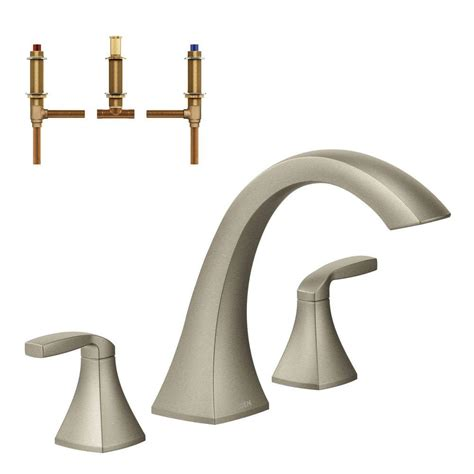 moen voss 2 handle deck mount high arc tub faucet