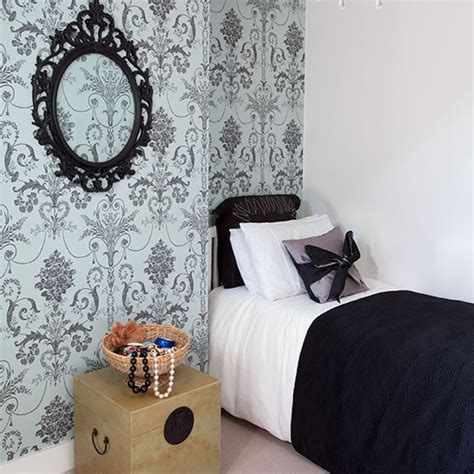 Small Bedroom With Damask Wallpaper  Small Bedroom Design