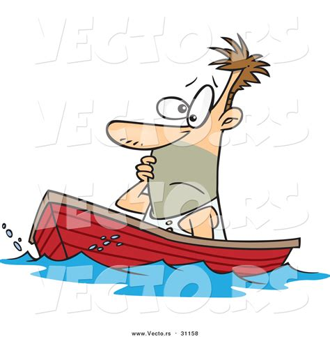 Cartoon Man In A Boat by Vector Of A Cartoon White Man Drifting In A Boat By