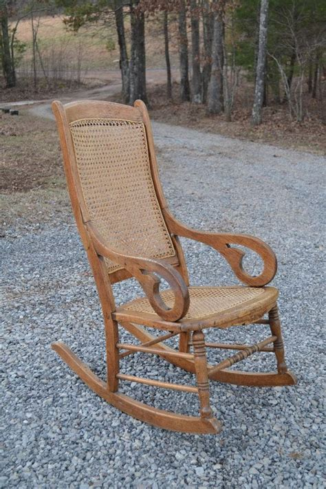 oak rocking chair back and seat antique by