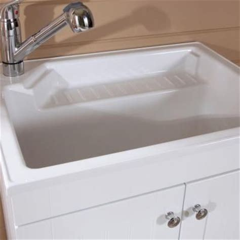 27 5 in w x 21 8 in d composite laundry sink