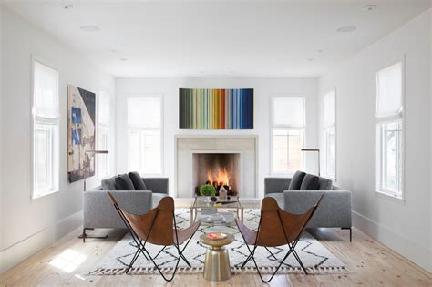 2015 Minimalist Farmhouse Living Room With Fireplace #5863