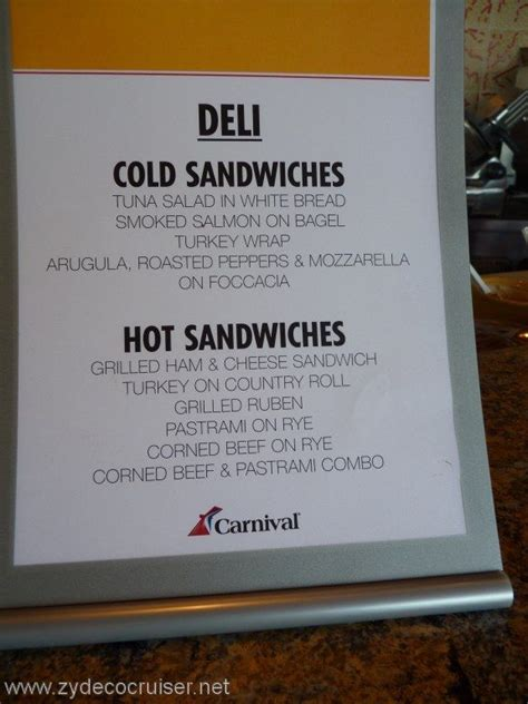 carnival cruise line deli menu food pictures carnival winter 2015