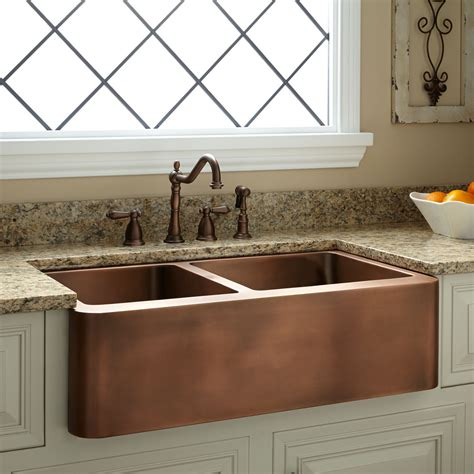 "33"" Aberdeen 6040 Offset Doublebowl Copper Farmhouse"