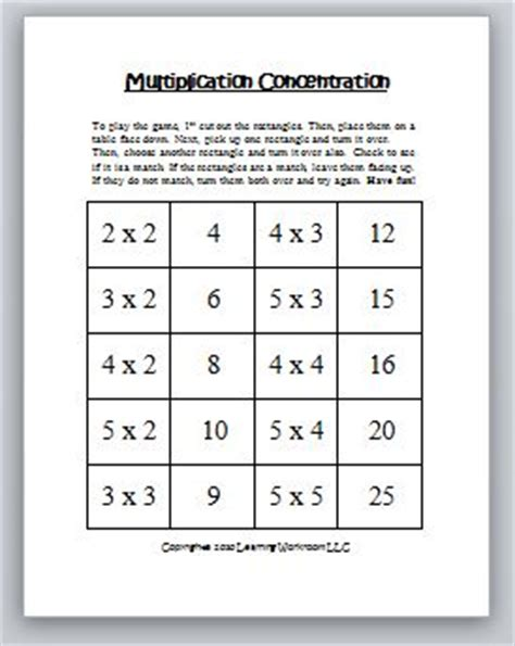 Multiplication Concentration Games  Classroom Freebies