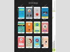 Flat Ui Or UX Mobile Apps Kit Stock Vector Illustration