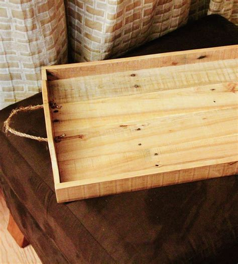 Large Reclaimed Wood Serving Tray With Rope Handles Fas