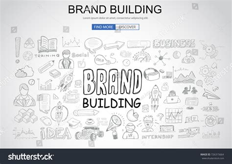 Brand Building Concept Business Doodle Design Stock Vector