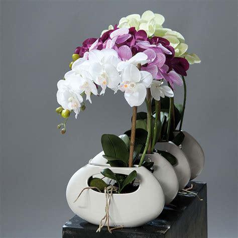 orchidee artificielle 1 he pot ceramique blanc oval h 43 cm du site artificielles