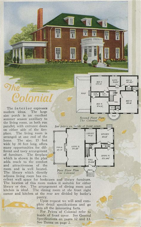 inspiring vintage house plans photo 1920 homes colonial revival half portico