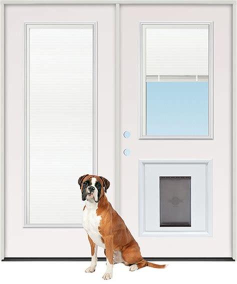discount miniblind half lite steel patio prehung door unit with pet door insert