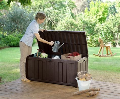 keter glenwood plastic deck storage container box outdoor patio furniture 101 gal