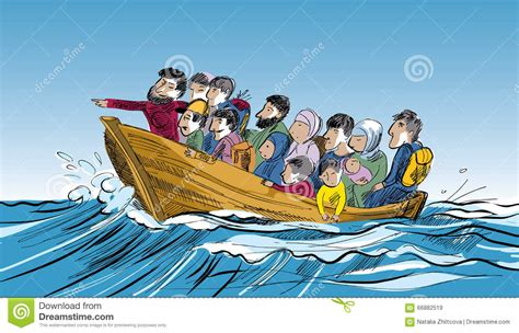 Cartoon Refugee Boat by Refugees In A Boat In The Middle Of The Sea Stock Vector