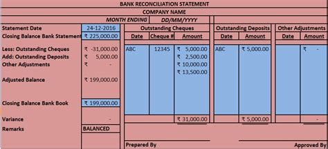 Trust Reconciliation Template by Download Bank Reconciliation Statement Excel Template
