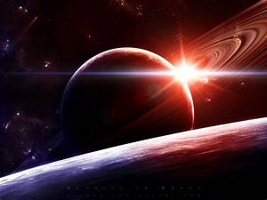 Sunrise outer space stars planets Saturn wallpaper ...