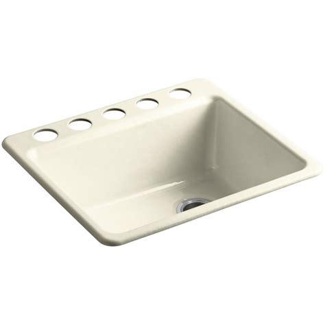 kohler riverby undermount cast iron 25 in 5 single basin kitchen sink kit with basin rack