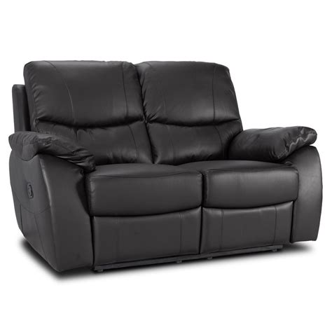 2 Seater Leather Recliner Sofa Black Cushions Furniture