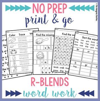 No Prep R Blends Worksheets Phonics Word Work By The Designer Teacher