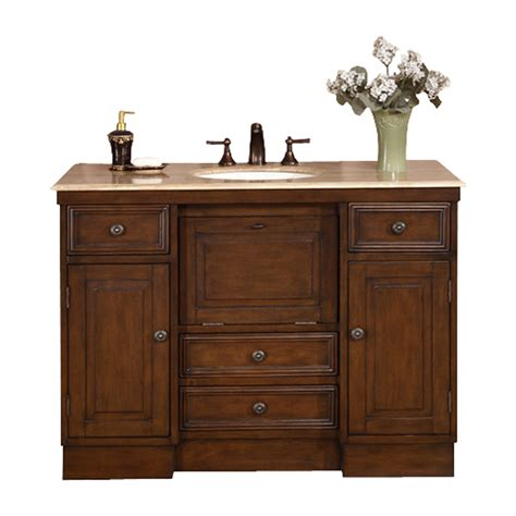 shop silkroad exclusive walnut undermount single sink bathroom vanity with travertine top