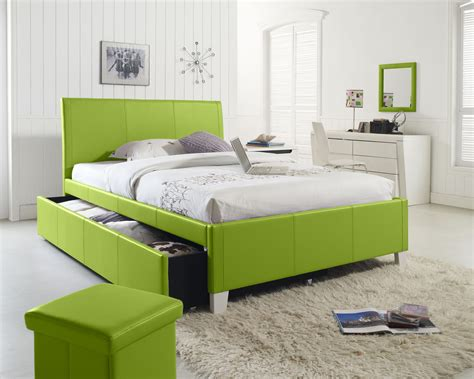 Charming Lime Green Upholstered Queen Bed With Green Cube