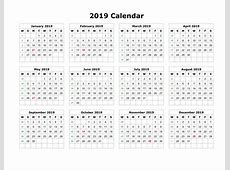 Get Yearly Calendar 2019 With UAE [Dubai] Holidays