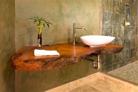 vasque en bois salle de bain carrelage salle de bain