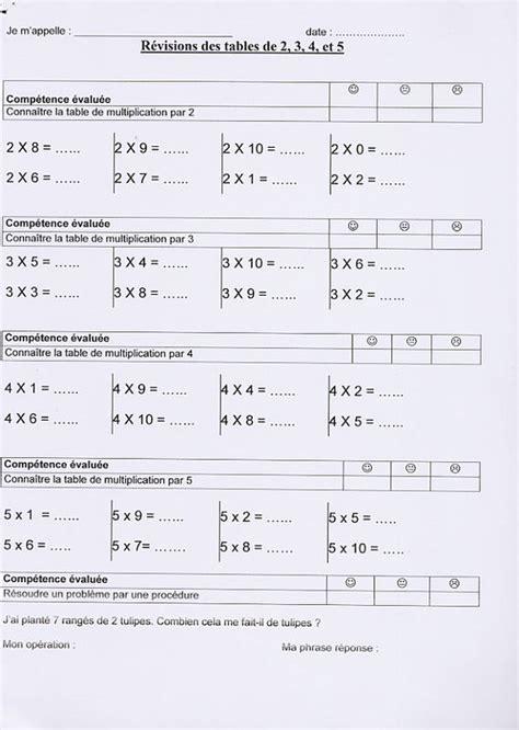 evaluation tables de multiplication ce2 farqna