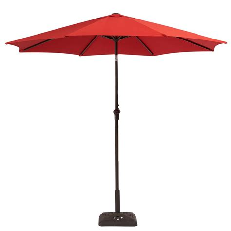 hton bay 9 ft steel crank and tilt patio umbrella in ruby yjauc 171 ruby the home depot