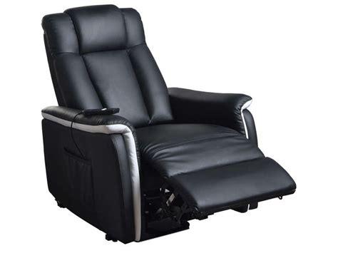 fauteuil relaxation 233 lectrique et releveur mario coloris noir et blanc en pu cuir vente de
