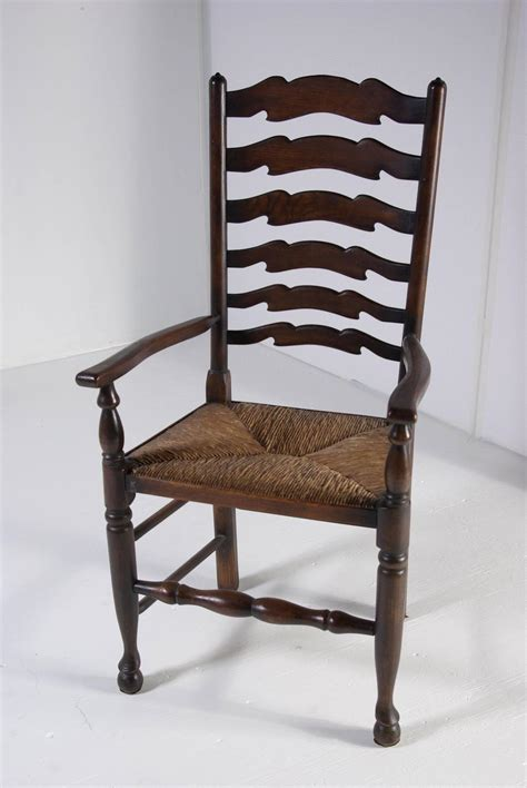 set of eight antique ladder back oak dining chairs all